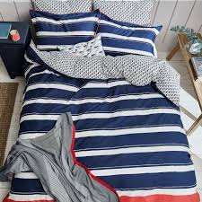 navy blue white striped bedding