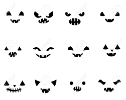 Funny Face Templates Set With Carved Halloween Pumpkin Faces Templates In Black And