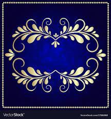 Blue And Gold Design Gold Pattern Frame On A Dark Blue Background