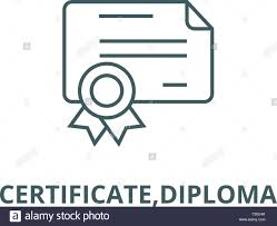Certificate Outline Certificate Diploma Line Icon Vector Certificate Diploma