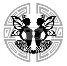Obraz Znamení Zvěrokruhu Blíženci Tetování Design