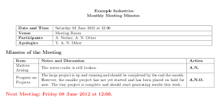 Examples Of Minutes Taken At A Meeting Good Method For Typesetting Meeting Minutes Tex Latex