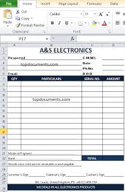 Cash Memo Format Of Electronics Shop In Excel Top Docx