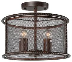 2 light vintage style pendant lamp with metal mesh shades aged steel finish