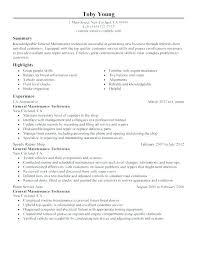 Maintenance Technician Resume Sample Auto Mechanic Resume General Maintenance Technician Resume Auto