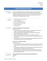 Resume Examples for Volunteering