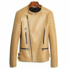 100 natural sheepskin leather jacket women stand collar taupe color slim motorcycle jackets woman real