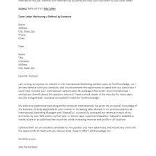 Cover Letter Referred By A Friend Sample Adriangatton Com