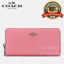 COACH F52372 Accordion Zip Wallet In Embossed Textured Leather   Silver Strawberry