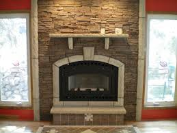 Amazing Stacked Stone Fireplace With Mantle ...