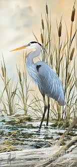 great blue heron painting heron and cattails by james williamson