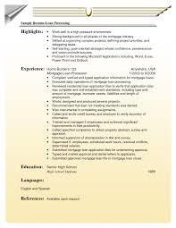 Mortgage Loan Processor Resume Striking Loan Processor Resumele Entry Level Mortgage Senior Auto 20