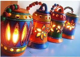 veggie clay lamp diwali decoration