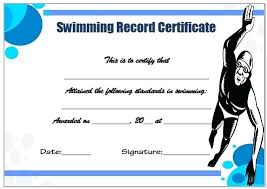 Luxury Swimming Certificate Templates Free For Certificate Of