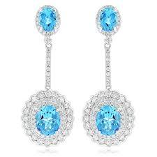 chandelier earrings for women designer blue topaz diamond earrings for women by ucchakv