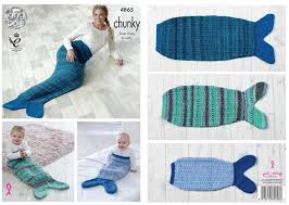 Mermaid Tail Blanket Knitting Pattern Enchanting King Cole 48 Knitting Pattern Baby Child Adult Mermaid Tail