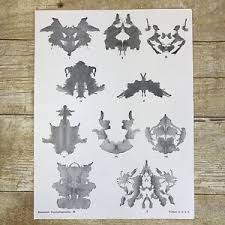Details About Vintage Rorschach Test 10 Miniature Inkblots Location Chart Page Form Sheet