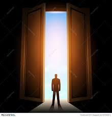 man in room with big open door