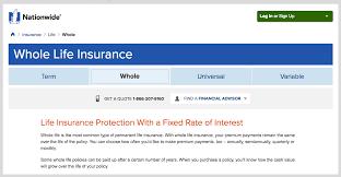 nationwide whole life insurance screenshot