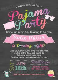 Pajamas Birthday Invitation Slumber Party Invitation
