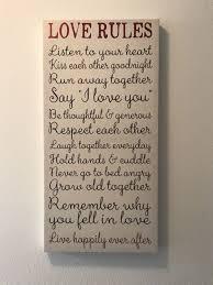 love rules canvas wall art
