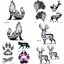 Yuran Tribe Moose временные татуировки мужчины наклейки руку черный волк