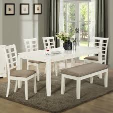 Ideas Of Dining Room 5 Pieces Dinette with Bench In White theme with