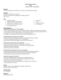 Sample Resume Objectives For Radiologic Technologist New Resume