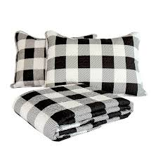 white buffalo check quilt set