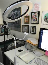 office work desk. Photo And Video Lighting Setup With The Diva Ring Lamp Lazy Arm For IPhone Office Work Desk