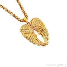 Gold Jewellery Pendant Designs Fashion Men Filling Pieces Angel Wings Pendant Hip Hop Gold Necklaces Long Chain Design Jewelry Necklace Best Friend Gift