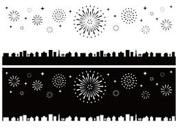 花火と街並み バナー 横長 白黒イラスト No 1571639無料イラスト