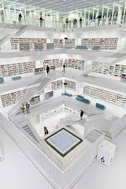 The Stuttgart City Library is a stunning new media center located with a  five-story atrium and an all-white interior. This futuristic-looking library  is ...