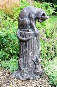 cat and mouse garden statue with aged