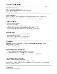 Resume Format For Bca Freshers Resume Format For Freshers Bca Resume