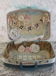 Vintage Suitcase Wedding Card Box Flower Girl Basket Ring Bearer Pillow Set  Shabby Chic Wedding Country