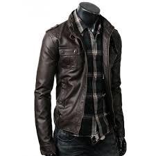 strap pocket dark brown slim style mens fitted leather jacket