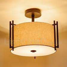 rustic lodge metal drum pendant light with fabric shade for living room dining room bedroom