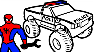 28 spring coloring pages printable images. Spiderman Repair Police Monster Truck Coloring Pages For Kids Coloring Book Kids Fun Art Video Dailymotion