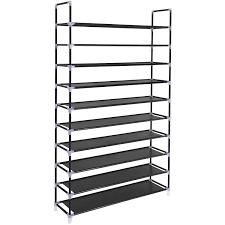 SONGMICS 10 Tiers Shoe Rack 50 Pairs Non-woven Fabric Shoe Tower Organizer  Cabinet Black