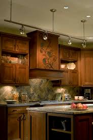 kitchen island track lighting. Lighting. Exciting Home Vintage Kitchen Interior Decor Combine Impressive Track Lighting With Prepossessing Wooden Island