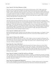 elit c trifles essay instructions elit 48c kim palmore 2 essay topic 4 the moral dilemma in trifles once the women have pieced together the clues and solved the mystery of mr wright s