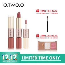 [Bayar Di Tempat]<b>O</b>.TWO.<b>O</b> Lipstick Matte 12 Warna (<b>2 in 1</b> ...