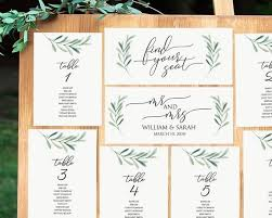 Greenery Seating Chart Printable Seating Cards 5x7 Table