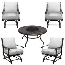 redwood valley 5 piece metal patio fire pit seating set with cushions included choose