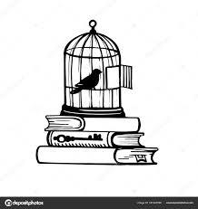 изображение птицы клетке эскиз татуировки векторное изображение