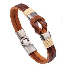 designer casual men s leather bracelets retro stainless steel buckle knot charm cuff bracelet jewelry for men newchic