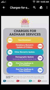 Aadhar Rate Chart 2017 Is There Any Charges Applicable For Changing Updating Aadhar