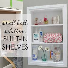 diy between the studs shelves for small bathroom