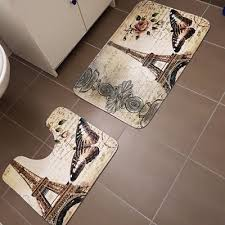 2pcs set paris eiffel tower non slip bathroom toilet pedestal rug bath mat fo